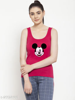 Women Pink Micky_Mouse Printed Cotton Tank top