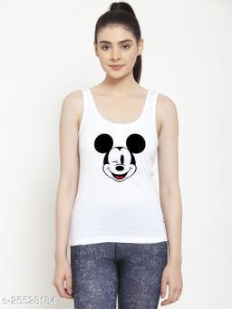 Women White Mickey Mouse Printed Cotton Tank top