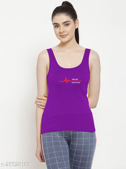Women Purple One life Printed Cotton Tank top