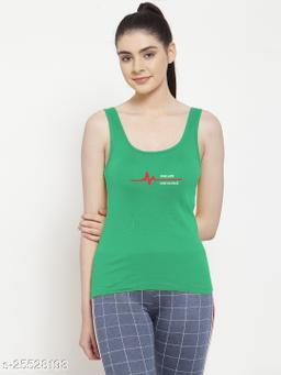 Women Green One life Printed Cotton Tank top
