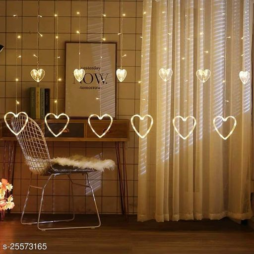 Amraz 12 Hearts (6 Big + 6 Small) , 138 LED Lights for Diwali Festivals Christmas Events or Home Decoration, Flameless & Smokeless Windows Curtain String Lights (Warm White/Yellow , 2m)