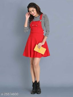 Women Casual Solid Red Dress