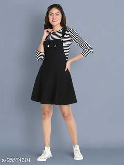 Women Casual Solid Black Dress