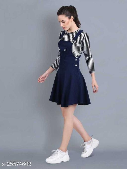 Women Casual Solid Dark Blue Dress