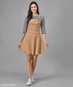 Women Casual Solid Beige Dress