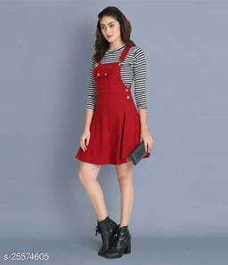 Women Casual Solid Maroon Dress