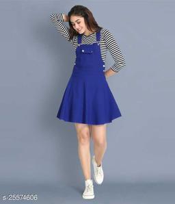 Women Casual Solid Blue Dress