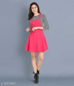 Women Casual Solid Pink Dress
