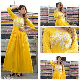 Women Rayon Pleated Embroidered Yellow Kurti