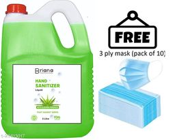 briana aloevera sanitizer 5 liter  with 3 ply mask free (pack of 10) Instant Hand Sanitizer   70% Alcohol Based Sanitizers