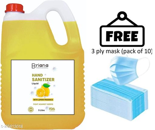 briana lemon sanitizer 5 liter  with 3 ply mask free (pack of 10) Instant Hand Sanitizer | 70% Alcohol Based Sanitizers