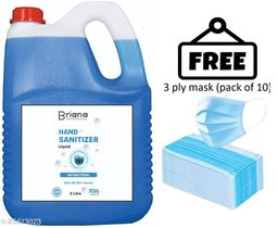 briana occen blue  sanitizer 5 liter  with 3 ply mask free (pack of 10) Instant Hand Sanitizer   70% Alcohol Based Sanitizers
