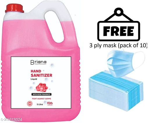 briana rose sanitizer 5 liter  with 3 ply mask free (pack of 10) Instant Hand Sanitizer | 70% Alcohol Based Sanitizers