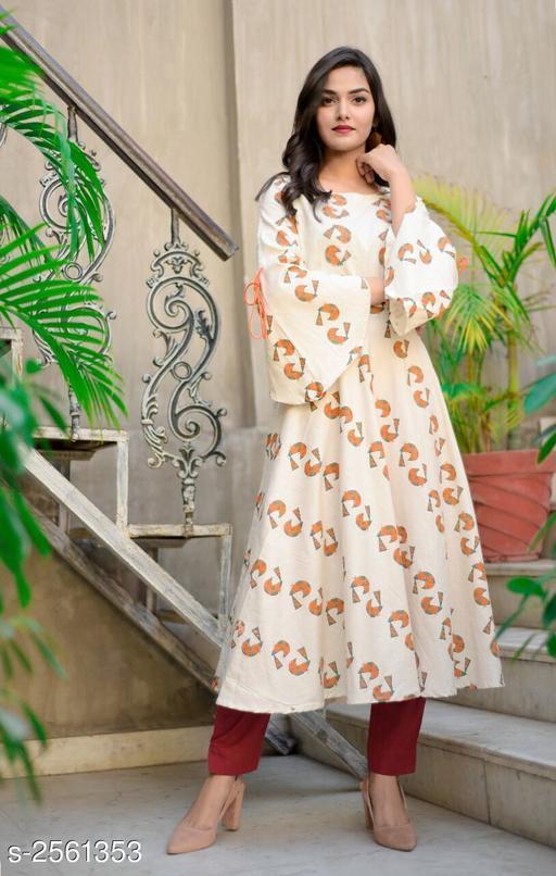 Women's Printed Cotton Slub Anarkali Kurti