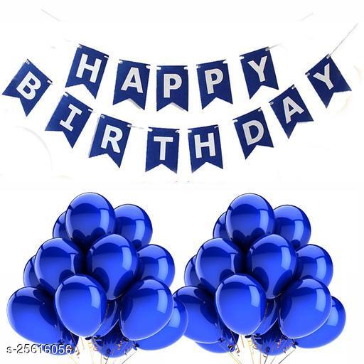 Happy Birthday Banner & 30 pcs.Metallic Balloons for Birthday Party Decoration (Dark-Blue)
