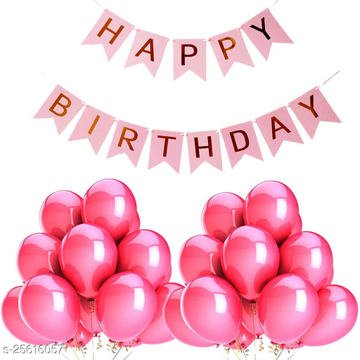 Happy Birthday Banner & 30 pcs.Metallic Balloons for Birthday Party Decoration (Pink)