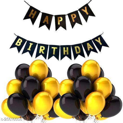 Happy Birthday Banner & 30 pcs.Metallic Balloons for Birthday Party Decoration (Black-Gold)