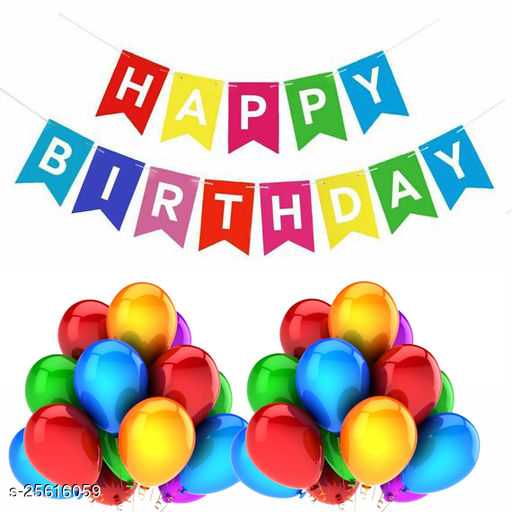 Happy Birthday Banner & 30 pcs.Metallic Balloons for Birthday Party Decoration (Muti-color)