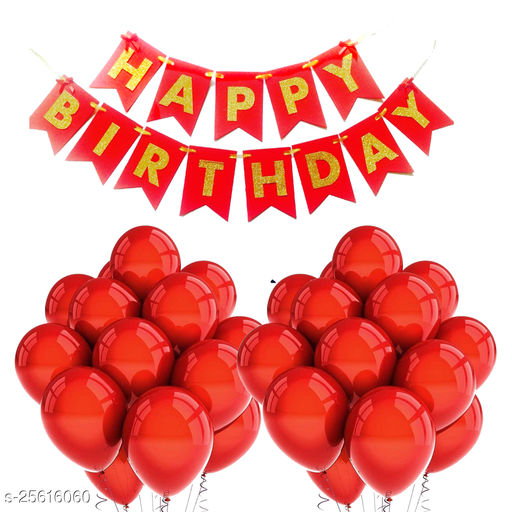 Happy Birthday Banner & 30 pcs.Metallic Balloons for Birthday Party Decoration (Red)