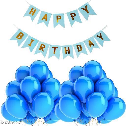 Happy Birthday Banner & 30 pcs.Metallic Balloons for Birthday Party Decoration (Blue)