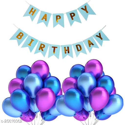 Happy Birthday Banner & 30 pcs.Metallic Balloons for Birthday Party Decoration (Blue-Purple)
