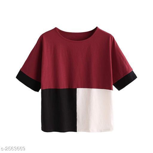 Women's Colorblocked Light Multicolour Cotton Top