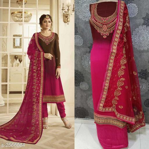 Elegant Women's Satin Georgette Suits & Dress Materials