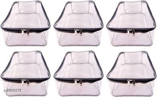 ultimatefashionista Garment cover Pack of 6 pieces High Quality Travelling Bag Large Transparent Mens Shirt Trouser Cover Petticoat Bag Organizer Bag(Transparent, Grey)