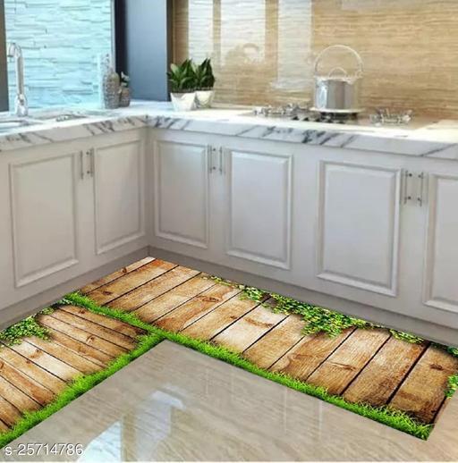 Combo Set of Anti Skid Digital Printed Luxury Kitchen Floor Mat