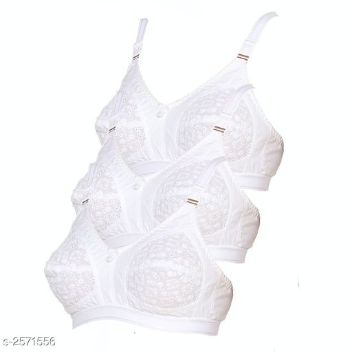 Comfy Women's Cotton Solid Bra ( Pack Of 3)