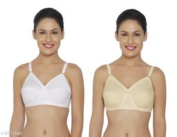 Comfy Women's Cotton Solid Bra ( Pack Of 2)