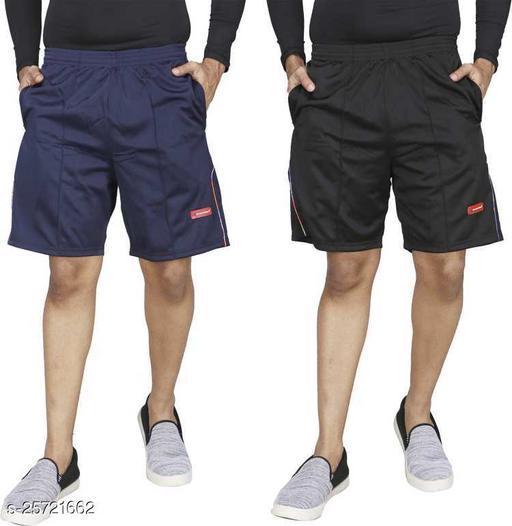 Carltron Men's Poly Cotton Shorts (Black Navy Combo A)