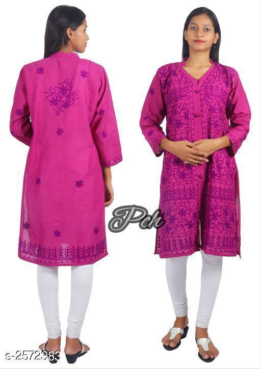 Kurtis & Kurtas  Voguish Cotton Chikankari Kurti  *Fabric* Cotton   *Sleeves* Sleeves Are Included   *Size* Kurti - M - 38 in, L - 40 in, XL - 42 in, XXL - 44 in, XXL - 46in   *Length* Up To 40 in   *Type* Stitched   *Description* It Has 1 Piece Of Women's Kurti   *Work* Chikankari Work  *Sizes Available* M, L, XL, XXL, XXXL *    Catalog Name: Abhisarika Voguish Cotton Chikankari Kurtis CatalogID_347081 C74-SC1001 Code: 024-2572383-