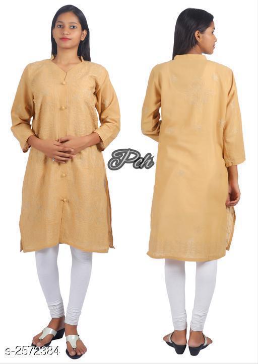 Kurtis & Kurtas  Voguish Cotton Chikankari Kurti  *Fabric* Cotton   *Sleeves* Sleeves Are Included   *Size* Kurti - M - 38 in, L - 40 in, XL - 42 in, XXL - 44 in, XXL - 46in   *Length* Up To 40 in   *Type* Stitched   *Description* It Has 1 Piece Of Women's Kurti   *Work* Chikankari Work  *Sizes Available* M, L, XL, XXL, XXXL *    Catalog Name: Abhisarika Voguish Cotton Chikankari Kurtis CatalogID_347081 C74-SC1001 Code: 024-2572384-