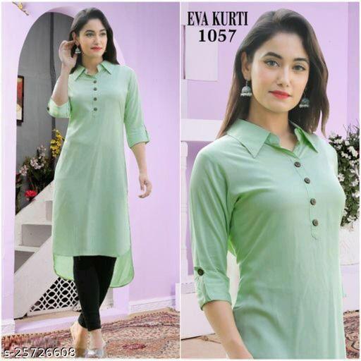 Women's Rayon solid plain A-line Kurti