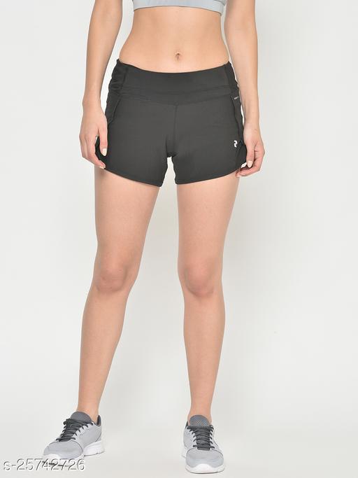 PERFKT-U Women Black Antimicrobial Regular Fit Double Layered Running Shorts