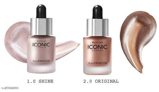 ICONIC LONDON ILLUMINATOR Both (1.0 shine)+(2.0 Original) Ultra Smooth Shine Waterproof Face And Body Highlighter 3D glow shine for medium to wheatish skin