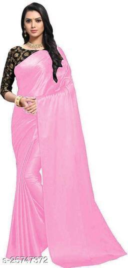 Satin Saree - pink