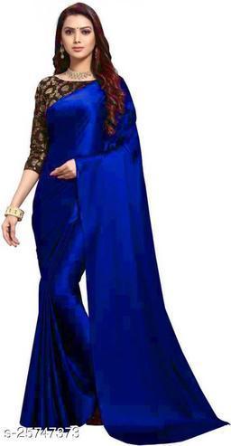 Satin Saree - Royal Blue