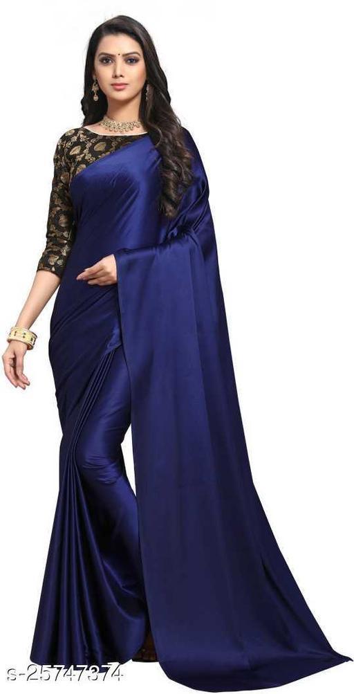 Satin Saree - Nevy Blue