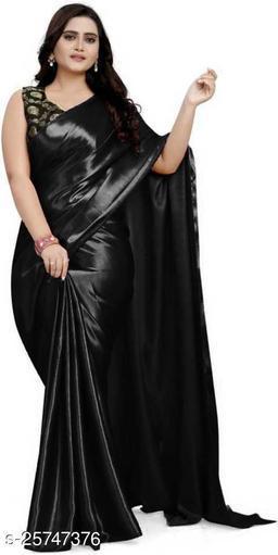 Satin Saree - black
