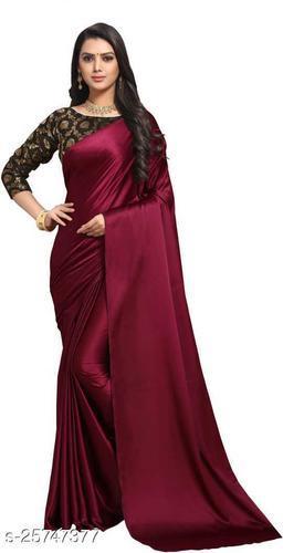 Satin Saree - Maroon