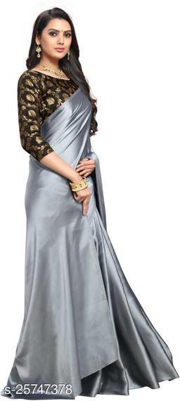Satin Saree - Grey