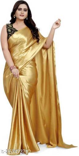 Satin Saree - gold