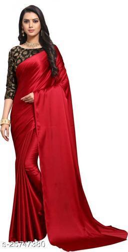 Satin Saree - Red