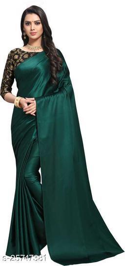 Satin Saree - Green