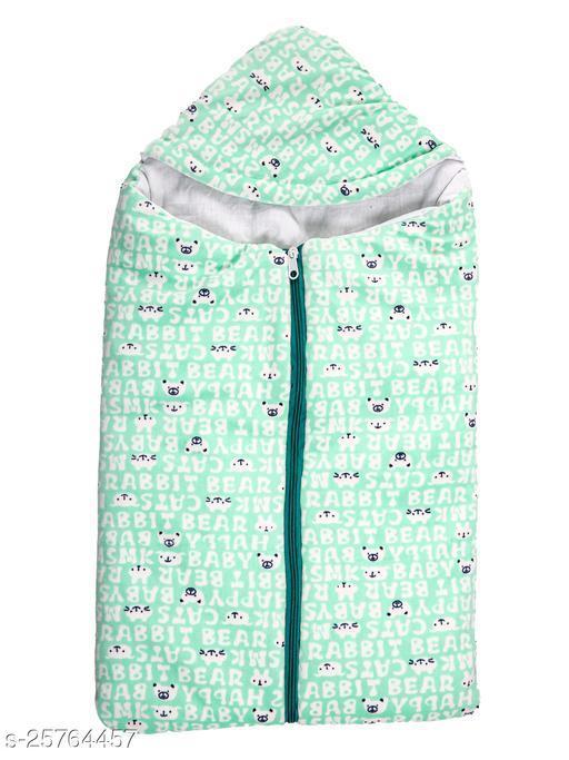 BABYZONE Super Soft AC Blankets Cum Wrapper with Zipper Sea Green Size 69x38