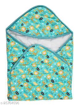 BABYZONE Printed AC Blanket Cum Wrapper Cotton Series Quilting Sea Green Size 76x76