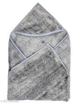 BABYZONE AC Blanket Cum Wrapper with Super Soft Fur Grey Size 81x81