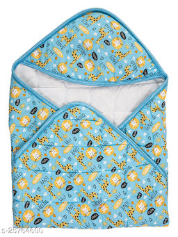 BABYZONE Printed AC Blanket Cum Wrapper Cotton Series Quilting Light Blue Size 76x76